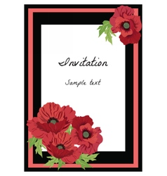 Poppy flowers frame vector