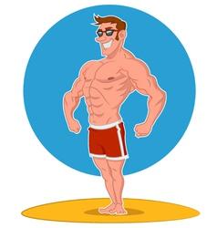 Posing bodybuilder vector image