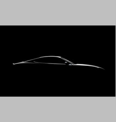 realistic side view sport car coupe silhouette vector image