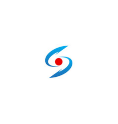 s curve circle initial technology logo vector image