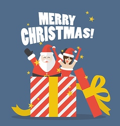 Santa claus and santa girl out of big gift box vector