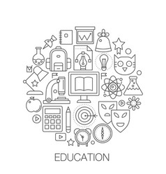 school in circle - concept line vector image