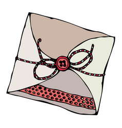 scrapbooking style envelope with tape or ribbon vector image