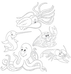 Sea animals vector image