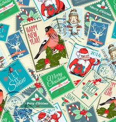 Seamless background of Christmas postal stamps vector