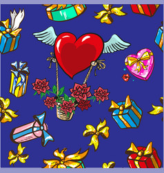 Seamless pattern design boxes with gifts and vector
