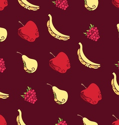 Seamless pattern of fruits and berries on brown vector image