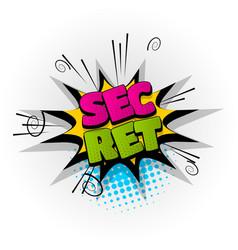 secret comic book text pop art vector image