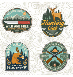 set hunting club badge concept for vector image
