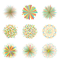 set of colorful fireworks on white background vector image