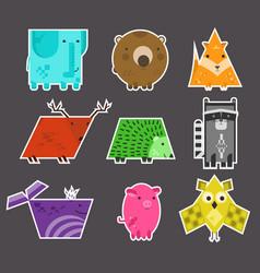 set of cute flat kids geometrical animals stickers vector image