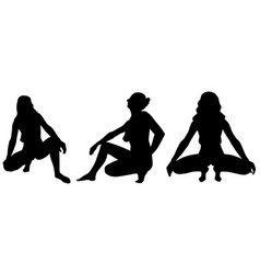 silhouettes of women crouching poses vector image