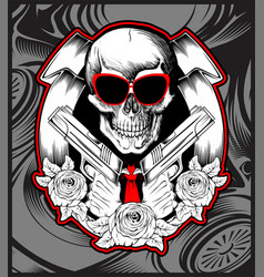 Skull bandit handling gun hand drawing vector