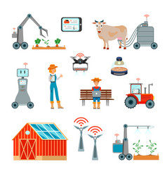 Smart farming flat icons set vector