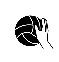 Sport hand volleyball ball block line style vector