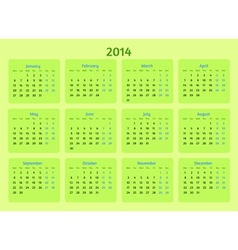 Stylized flat design The 2014 Year calendar vector image