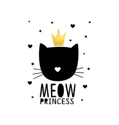 sweet cat face print design with slogan vector image