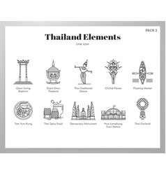 thailand elements line pack vector image