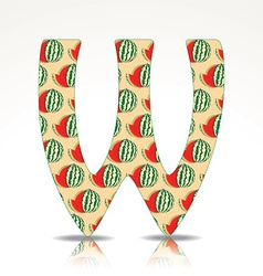 The letter W of the alphabet made of Watermelon vector