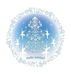 Vintage winter greeting card vector