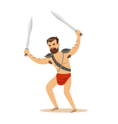 Warrior character naked man in a red loincloth vector