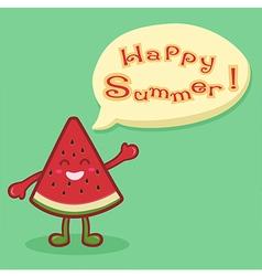 Watermelon Fruit Slice Happy Summer Speech Bubble vector