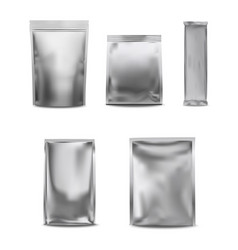White blank foil pack plastic bag set vector