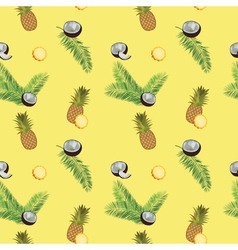 Yellow seamless pattern Pineapple coconut palm vector