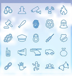 25 crime justice icons set vector image