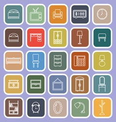Bedroom line flat icons on violet background vector image vector image