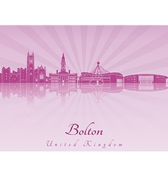 Bolton skyline in purple radiant orchid vector image