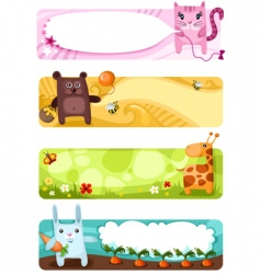 cute animal card set vector image