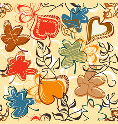 fall leaves pattern in bright colors vector image