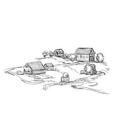 Houses in village Landscape sketch vector image vector image