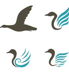 Swan icons isolated on white background vector image