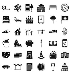 villa for rest icons set simple style vector image