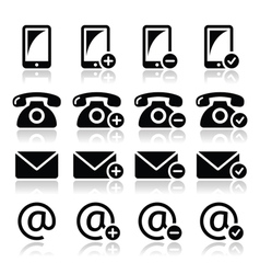 Contact icons set - mobile phone email envelope vector