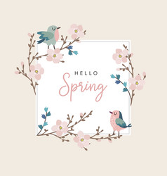 hello spring greeting card invitation with cute vector image vector image