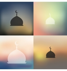 mosque icon on blurred background vector image vector image