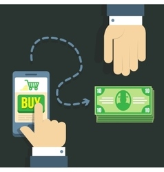 People sending and receiving money wireless with vector image vector image