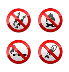 set prohibited signs - fire vector image vector image