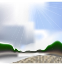 Summer river backdrop with gradient mesh vector