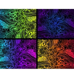 Colorful ornaments on black background vector image vector image