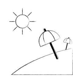 figure island with sun weather and umbrella open vector image