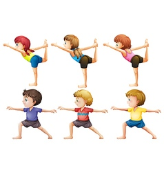 Girls and boys doing yoga vector image