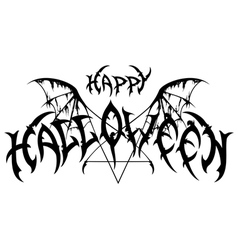Halloween emblem in metal rock music style vector image