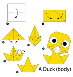 step instructions how to make origami a duck vector image vector image