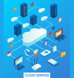 cloud service flat isometric vector image vector image