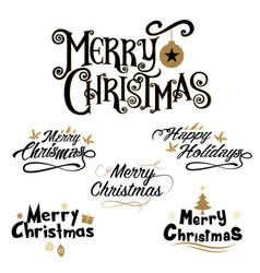 Merry christmas lettering design set vector