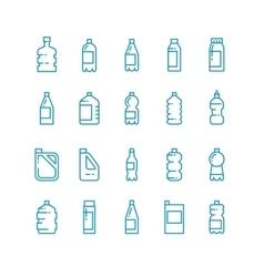 Plastic bottles line icons set vector image